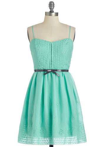 Flower Festival Dress - Mint, Solid, Eyelet, Belted, Casual, Sundress, A-line, Spaghetti Straps, Better, Sweetheart, Cotton, Woven, Summer
