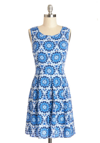 Play It Optical Dress - Print, Pleats, Casual, Festival, A-line, Sleeveless, Good, Scoop, Mid-length, Woven, Blue, White, Exposed zipper, Spring, Sundress, Top Rated, Boho
