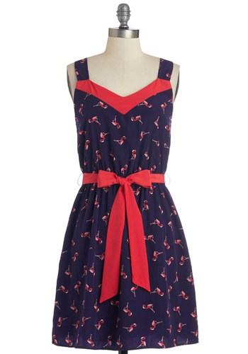 Migrate Expectations Dress - Blue, Pink, Print with Animals, Belted, Casual, Quirky, Critters, A-line, Spaghetti Straps, Good, V Neck, Mid-length, Summer, Show On Featured Sale, Bird, Woodland Creature
