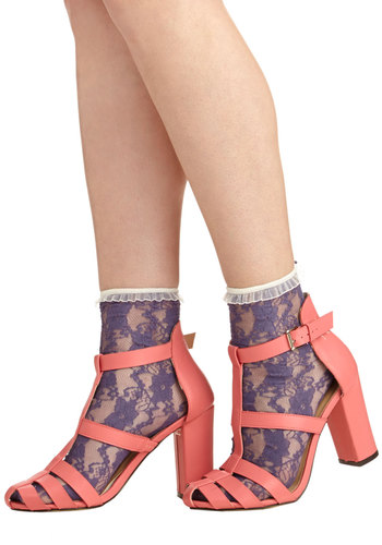 Lithe Is But a Dream Socks in Violet - Purple, White, Solid, Lace, Ruffles, Trim, Good, Variation, Sheer, Knit, Lace