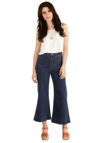 Exemplary Style Capri Jeans - High Waist, Cropped, Flare / Bell Bottom, Better, High Rise, Blue, Medium Wash, Denim, Denim, Knit, Woven, Blue, Solid, Pockets, Casual, Nautical, Vintage Inspired, Festival, Summer, Capri, 70s, Spring, Good, Boho