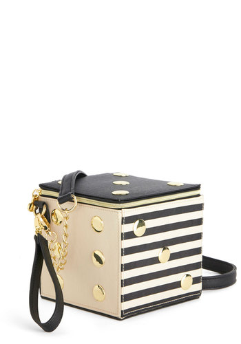 Betsey Johnson Roll with the Poshes Bag by Betsey Johnson - Quirky, Better, Black, Tan / Cream, Black, Gold, Print, Faux Leather