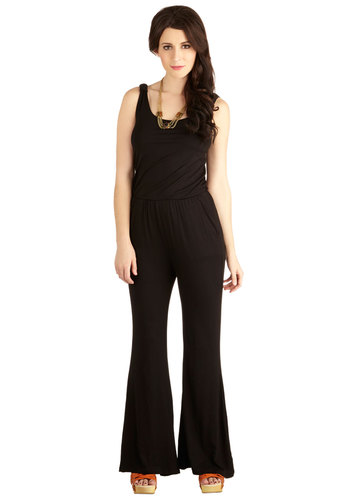 Dress It Up Jumpsuit - Good, Full length, Black, Non-Denim, Jumpsuit, Knit, Long, Black, Solid, Pockets, Casual, Vintage Inspired, 70s, Festival, Flare / Bell Bottom, Sleeveless, Sleeveless, Ruching, Beach/Resort, Minimal, Spring, Fall, Boho