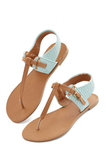 Weave Come a Long Way Sandal - Flat, Faux Leather, Mint, Beach/Resort, Colorblocking, Summer, Good, T-Strap, Tan / Cream, Solid, Woven, Casual, Festival