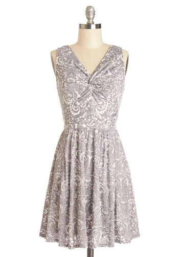 Daily Joys Dress - Short, Grey, White, Print, Casual, A-line, Sleeveless, Better, V Neck, Knit