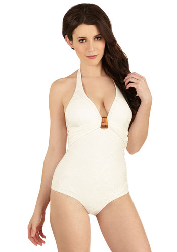 Palm Trees in Paradise One-Piece Swimsuit by Scandale - International Designer, Cream, Solid, Beach/Resort, Safari, Vintage Inspired, Halter, Summer, Best, Knit, 70s, Festival, Boho