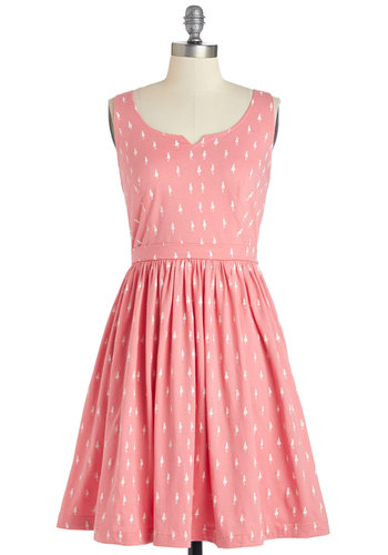 Adorable Errands Dress in Pink by People Tree - Pink, White, A-line, Tank top (2 thick straps), Better, Scoop, Knit, Mid-length, Novelty Print, Pockets, Eco-Friendly, Variation, Sundress, Summer, Spring, Casual
