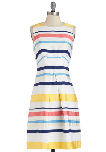 Rhyme or Ribbon Dress - Stripes, A-line, Sleeveless, Better, Scoop, Daytime Party, Woven, Spring, Yellow, Blue, Pink, White, Mid-length