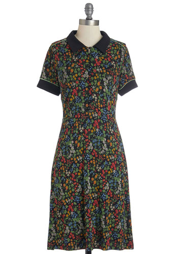 Berry Syrup Dress - Multi, Floral, Buttons, Trim, Casual, Shirt Dress, Short Sleeves, Better, Collared, Knit, Mid-length, Fruits, Fall