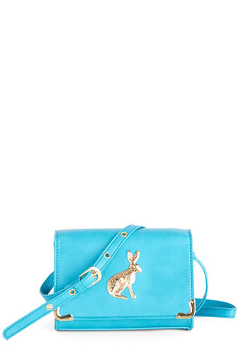 I'm Having a Good Hare Day Bag - Blue, Print with Animals, Critters, Faux Leather, Gold