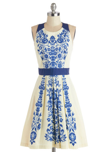 Ladies Who Luncheon Dress - Blue, Floral, Cutout, A-line, Sleeveless, Better, Scoop, Tan / Cream, Cotton, Woven, Daytime Party, Graduation, Mid-length