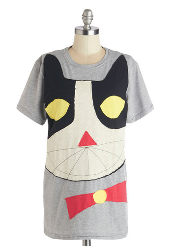 Be Here Meow Tee by Heel Athens Lab - Grey, Multi, Print with Animals, Casual, Cats, Short Sleeves, Summer, International Designer, Grey, Short Sleeve, Knit, Long, Quirky, Critters, Crew, Gals, Good