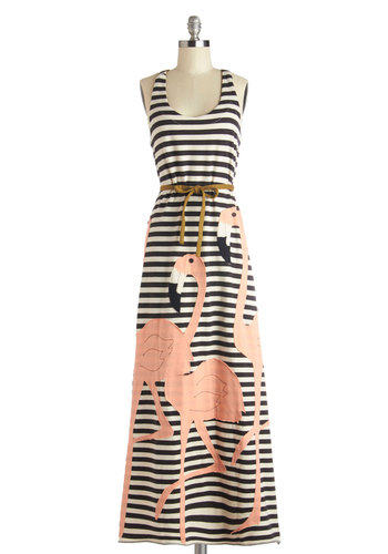 Legs for Days Dress by Heel Athens Lab - Stripes, Print with Animals, Casual, Quirky, Maxi, Racerback, Better, International Designer, Multi, Belted, Scoop, Long, Knit