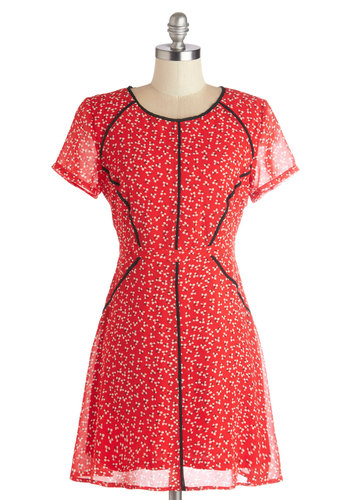 Blossoms Along the Boulevard Dress by Tulle Clothing - Red, Black, Floral, Trim, Casual, A-line, Short Sleeves, Better, Scoop, Woven, Mid-length, Chiffon