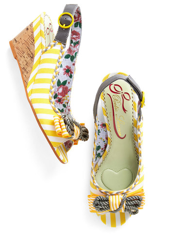 Sunny Stride Up Heel by Poetic License - Mid, Leather, Woven, Yellow, Grey, Stripes, Bows, Casual, Daytime Party, Spring, Summer, Best, Wedge, Espadrille, Peep Toe