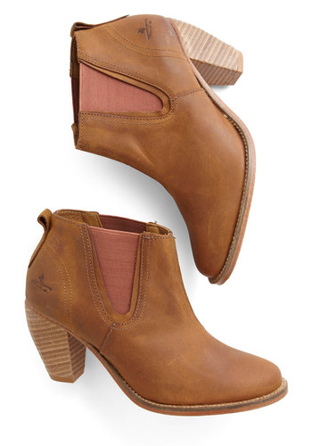 Park Slope Promenading Booties - Mid, Leather, Brown, Solid, Best, Chunky heel