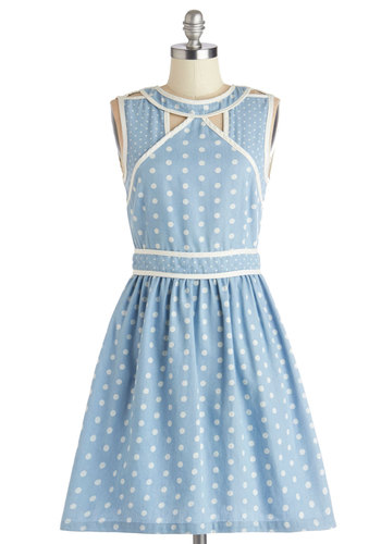 RTV CLOSED (6/16/14): Well I'll Be Darling Dress by Dear Creatures - Blue, White, Polka Dots, Cutout, Trim, Casual, A-line, Sleeveless, Better, Scoop, Daytime Party, Americana, Mid-length