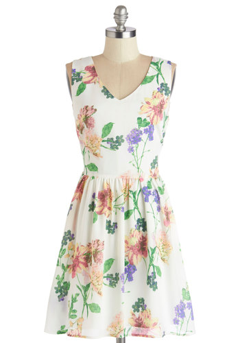 I Ladylike It Like That Dress by Jack by BB Dakota - A-line, Sleeveless, Better, V Neck, Chiffon, Woven, Floral, Exposed zipper, Daytime Party, Graduation, Mid-length, Sundress, Multi, Yellow, Green, Pink, White, Show On Featured Sale