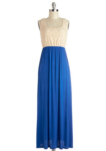 Mixed Tape Dress - Blue, Tan / Cream, Lace, Casual, Maxi, Sleeveless, Good, Scoop, Long, Cotton, Knit