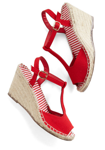 Anchors Sashay Wedge in Red - Mid, Woven, Red, Solid, Casual, Daytime Party, Nautical, Spring, Summer, Good, Wedge, Espadrille, Peep Toe, T-Strap, Variation, Americana