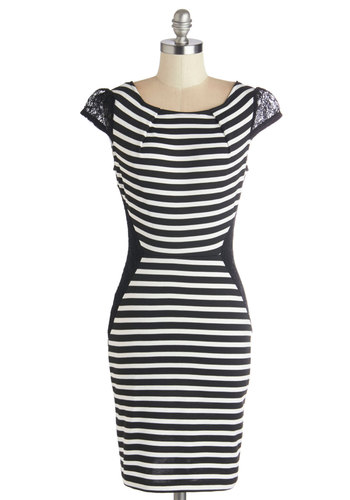 That's Allure Like It Dress - Black, White, Stripes, Lace, Shift, Cap Sleeves, Good, Mid-length, Knit, Party, Sheer, Lace