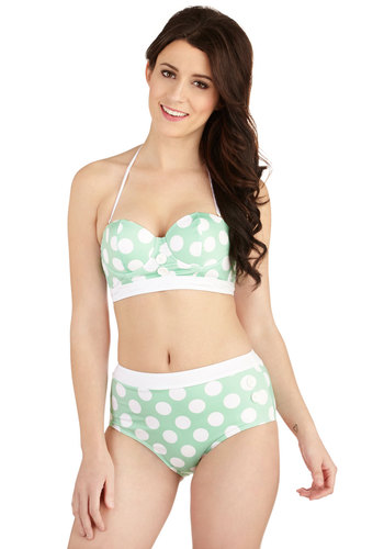 Seasons of the Sun Swimsuit Top in Mint - Knit, High Waist, Mint, White, Polka Dots, Buttons, Beach/Resort, Pinup, Vintage Inspired, 40s, 50s, 60s, Pastel, Summer, Exclusives, Variation, Americana