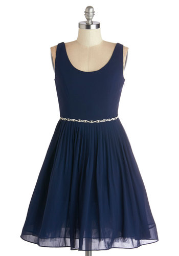 Sage a Dance Dress in Navy - Mid-length, Knit, Blue, Solid, Special Occasion, Prom, Wedding, Bridesmaid, Fit & Flare, Tank top (2 thick straps), Better, Scoop, Pleats, Rhinestones, Variation, Party, Homecoming