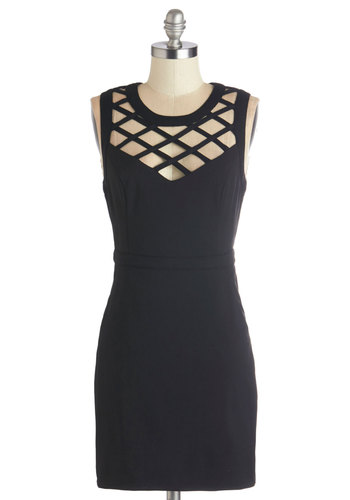Lattice and Harmony Dress - Woven, Black, Solid, Cutout, Pockets, Party, Girls Night Out, LBD, Bodycon / Bandage, Sleeveless, Better, Scoop, Exposed zipper, Sheer, Halloween, Short