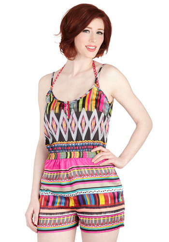 Radiant as the Sun Cover-Up Romper - Cover-up, Multi, Print, Pockets, Beach/Resort, Spaghetti Straps, Summer, Festival, Woven, Boho