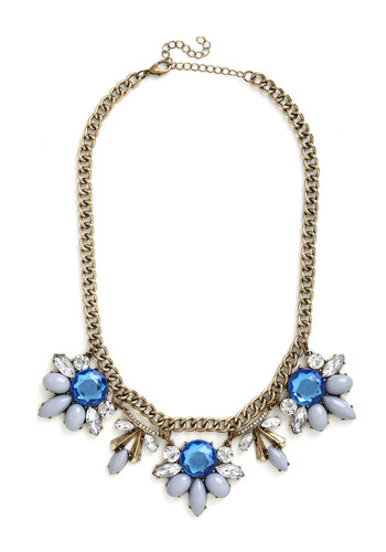 Every Now and Gem Necklace in Grey - Blue, White, Solid, Flower, Rhinestones, Tiered, Statement, Gold, Good, Special Occasion, Social Placements, Party