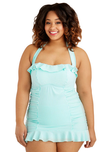 Flip Turn It Up One-Piece Swimsuit in Turquoise - Plus Size - Knit, Blue, White, Stripes, Ruffles, Beach/Resort, Summer, Variation, Swim Dress