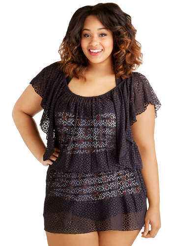 Lush Locale Cover-Up Dress in Plus Size - Woven, Black, Beach/Resort, Short Sleeves, Summer, Cover-up