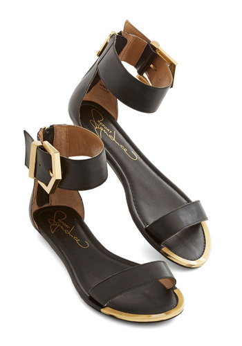 Work It for the Weekend Sandal - Flat, Leather, Black, Solid, Buckles, Casual, Daytime Party, Luxe, Urban, Better, Gold, Summer