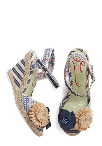 Meet Me in the Marina Wedge by Poetic License - Mid, Leather, Woven, Blue, Multi, Stripes, Flower, Daytime Party, Spring, Summer, Best, Wedge, Espadrille, Peep Toe