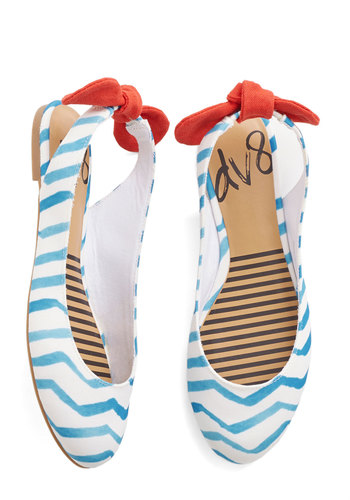 Prance Partner Flat in Waves by Dolce Vita - Flat, Red, White, Chevron, Bows, Casual, Beach/Resort, Nautical, Spring, Summer, Good, Slingback, Multi, Blue, Variation, Americana