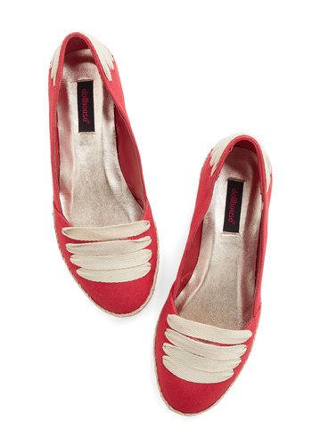 All Over the Lace Flat - Flat, Red, Solid, Casual, Good, Tan / Cream, Nautical