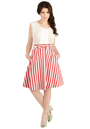 Partake in Peppermint Skirt in Stripes by Bea & Dot - Stripes, Bows, Pockets, Nautical, Americana, A-line, Summer, Red, Exclusives, Private Label, Red, Party, Daytime Party, Beach/Resort, Spring, Better, High Waist, Mid-length, White, Denim