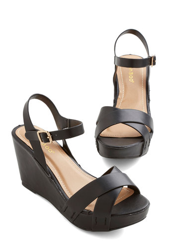 Step Out in the City Sandal - Mid, Faux Leather, Black, Solid, Minimal, Good, Platform, Wedge, Strappy, Summer