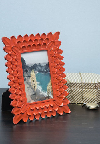 Petaled Perimeter Frame - Orange, Boho, Good, Mid-Century, Solid, Flower, Press Placement