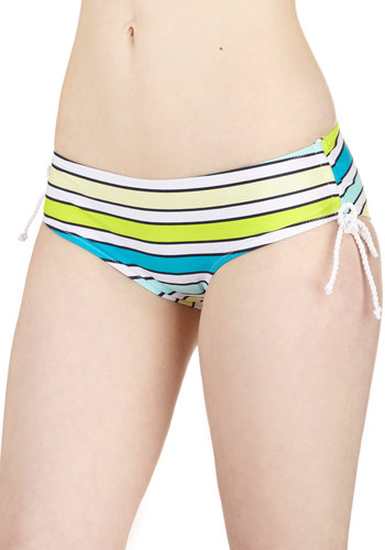 Bright-Rope Walking Swimsuit Bottom - Good, Stripes, Beach/Resort, Summer, Knit, Green, Blue, White