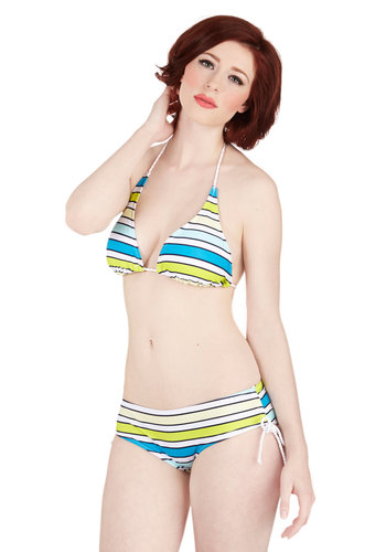 Bright-Rope Walking Swimsuit Top - Stripes, Beach/Resort, Summer, Knit, Green, Blue, White, Halter