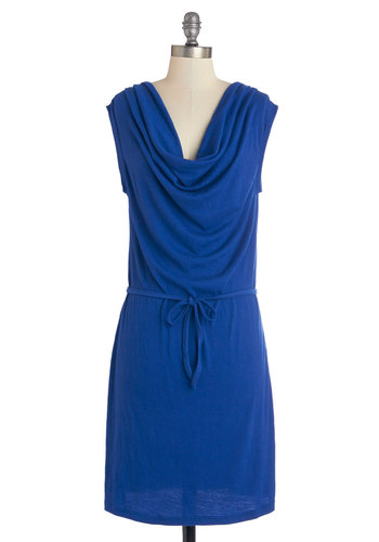 Working Wonders Dress - Blue, Solid, Belted, Casual, Shift, Sleeveless, Better, Cowl, Knit, Top Rated, Mid-length