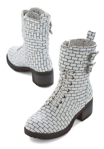 Another Brick in the Catwalk Boot by Kling - Mid, Faux Leather, White, Black, Print, Buckles, Quirky, Better, Lace Up, Chunky heel, Vintage Inspired, 90s
