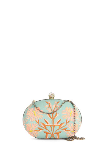 Garden Grandeur Clutch by Darling - Mint, Pink, Floral, Embroidery, Daytime Party, Better, International Designer, Special Occasion, Spring, Summer, Green, Faux Leather, Social Placements