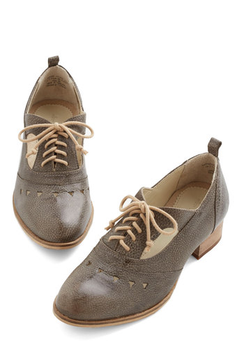Merry Trotter Flat - Low, Leather, Grey, Solid, Cutout, Work, Menswear Inspired, Vintage Inspired, 20s, 30s, Best, Lace Up