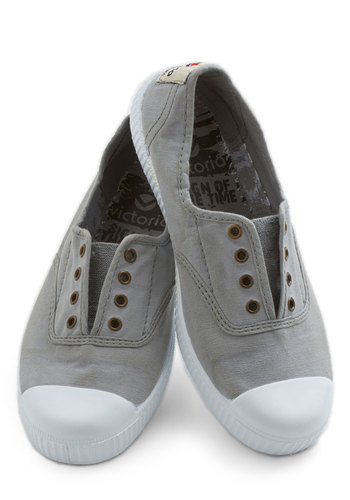 Tread Over Heels Flat in Smoke - Low, Woven, Grey, White, Solid, Casual, Better, Variation, Top Rated