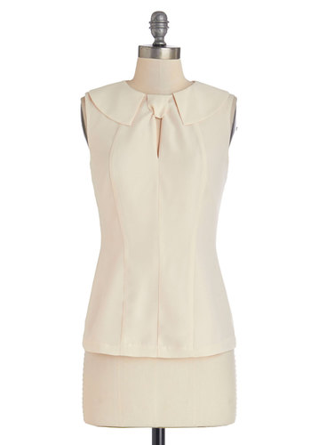 A Fine Byline Top in Ivory by Myrtlewood - Woven, Mid-length, Solid, Peter Pan Collar, Work, Daytime Party, Vintage Inspired, Darling, Sleeveless, Spring, Collared, White, Sleeveless, Exclusives, Private Label, Cream, Variation