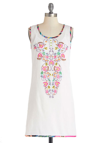 Just Caribbean Myself Dress - White, Pink, Buttons, Embroidery, Casual, Folk Art, Sleeveless, Better, Scoop, Festival, Knit, Mid-length, Multi, Beads, Trim, Beach/Resort, Shift, Exclusives, Cotton, Boho