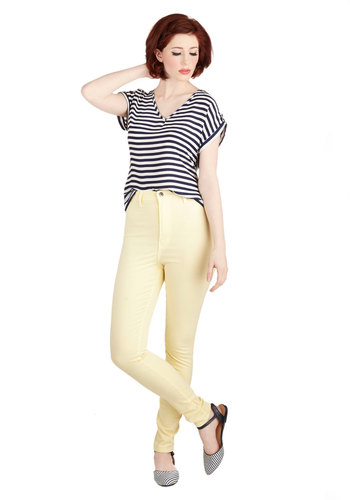Gotta Jet Set Jeans in Lemon - High Waist, Skinny, Good, Ultra High Rise, Ankle, Yellow, Colored, Denim, Cotton, Yellow, Solid, Casual, Vintage Inspired, 90s, Spring, Summer, Denim, Pockets, Pastel, Variation, Best Seller