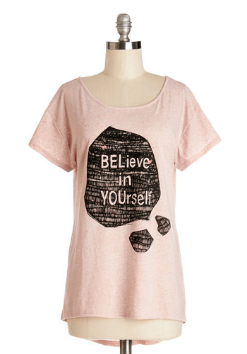 Pros and Confidence Top - Long, Knit, Pink, Novelty Print, Casual, Sayings, Short Sleeves, Spring, Scoop, Pink, Short Sleeve, Summer, Good